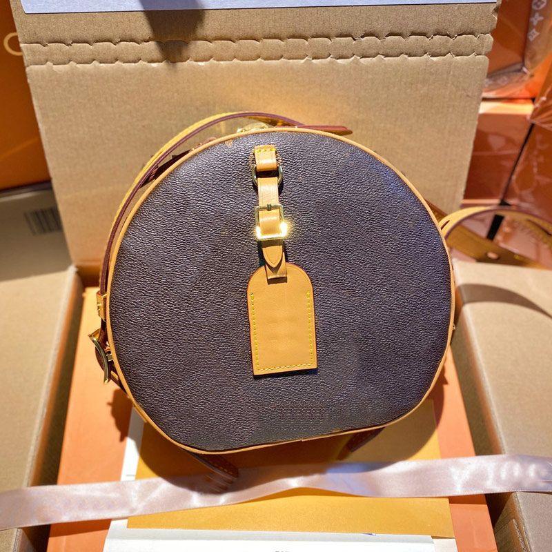 Women Luxurys Circle Crossbody Bag Designers Round Handbags Purse Old Flower Brown Genuine Leather Shoulder Bag Wallet Clutch Top Quality