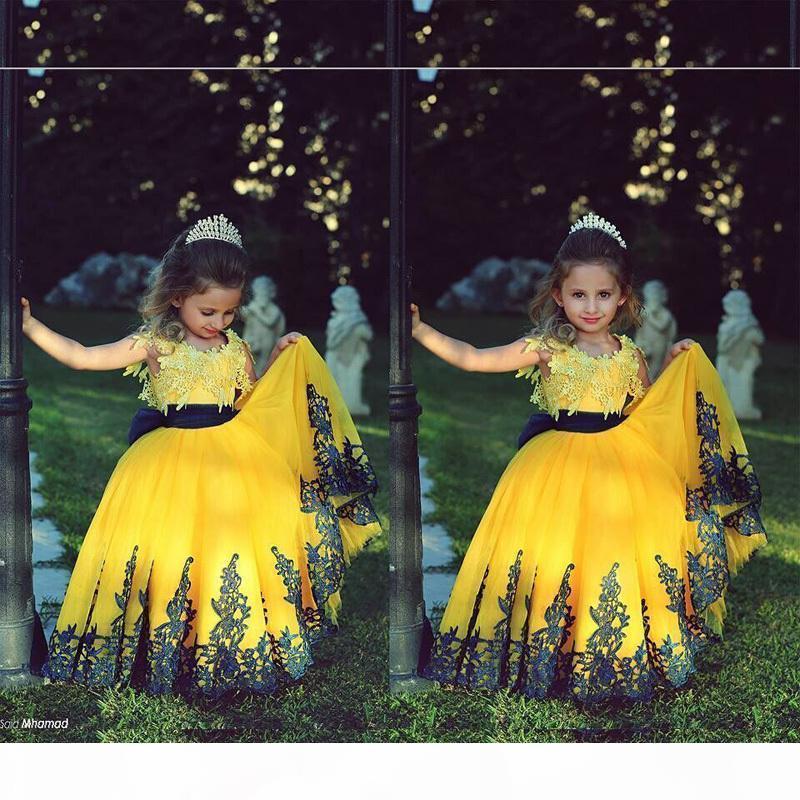 2017 желтое платье с кружевами девочек Pageant платья дети вечернее платье синий бисером королевский голубой цветок девушки длинные пагинские платья для юниорей