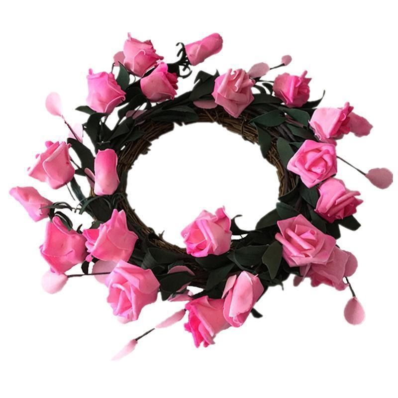 1 pc simulação rosa coroa de porta romântica wedding casamento rosa pingente decoração