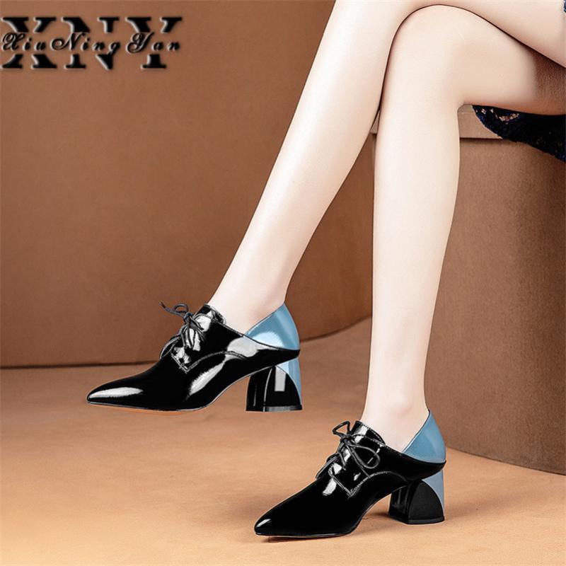 Kleid schuhe xiuningyan mode marke frauen dicke high heels frühling sommer frau corss-gebundene spitze zee office pumps damen party