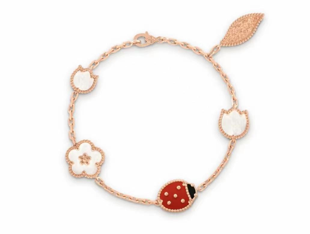Serie Ladybug Fashion Clover Charm Braccialetti Braccialetti Catena Bangle Alta Qualità S925 Sterling Silver Silver 18k oro rosa per womengirls matrimonio giorno monili regalo