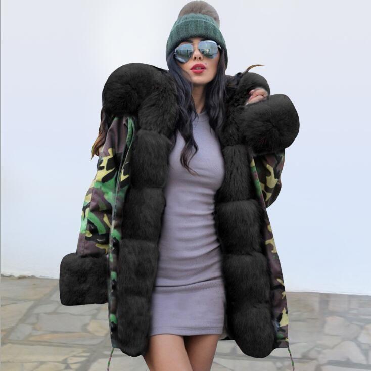 Damen Down Parkas 2021 Mode Straße Stil Super Warm Dick Fuzzy Faux Pelz Lange Parka Mantel Jacke Outwear