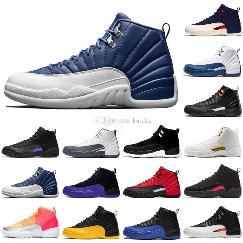 Zapatillas de baloncesto de primera calidad Jumpman 12 12S Sneakers para hombre Zapatillas de deporte azul Universidad de oro Ovo Ovo Tamaño 40-47