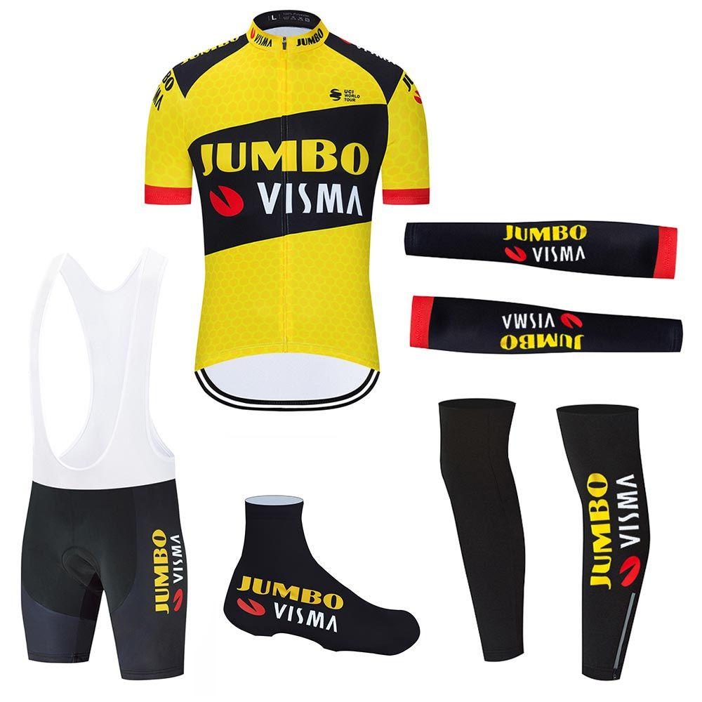 Jumbo Visma 2021 Nouveaux hommes Cyclisme Jersey Pro Vélo Team Cyclisme Vêtements Vélo Été Vélo Set Maillot Manches Réchauffeurs Culture complet
