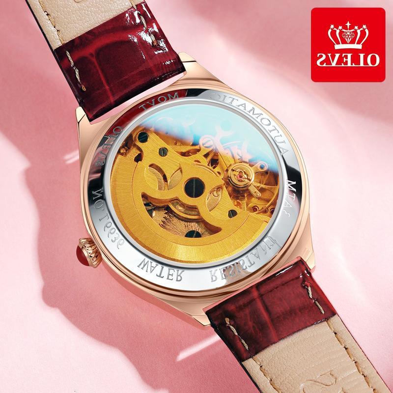 Automaton Kwai Tiktok, Hot Shake, Натуральная кожа Lady Watch, Водонепроницаемые часы.