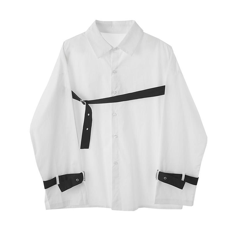 Männer Casual Hemden Yohji dunkle Männer Bandage Streifen Nähte Marke Design mit Männchen Owen Japan Koreanische Stil Kleidung Streetwear