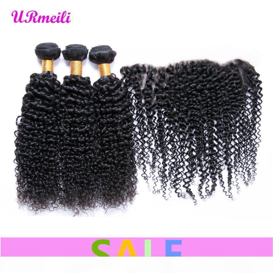 Paquetes de pelo virgen rizado rizado brasileño con orejas de cierre frontal a oreja frontal con paquetes 10A Remy Human Hair Bundles con frontal
