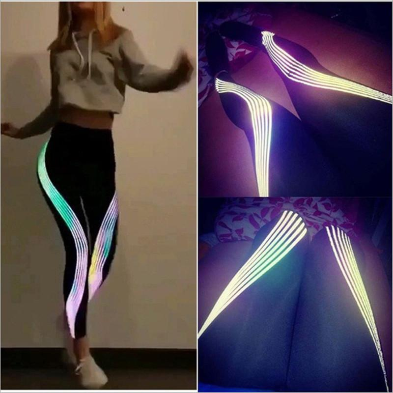 Светоотражающие брюки йоги спортивные черные женские дизайнерские брюки Все сезон тренажерный зал бег беггинговые леггинсы женские длинные спортивные штаны