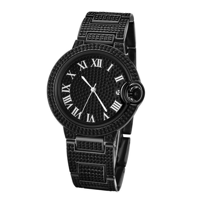 الجملة أزياء رجالي المرأة ووتش الماس مثلج الساعات الفولاذ المقاوم للصدأ مصممي الكوارتز حركة ساعة اليد سيدة ساعة