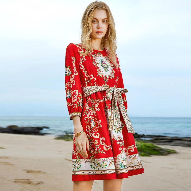 2021 Новая мода весенние халаты женские взлетно-посадочные дорожки дизайнеры кружева вверх бисером старинные печатные платья элегантная алина красная вечеринка Vestidos
