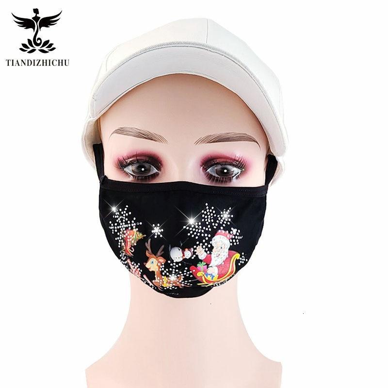 Моющийся новый мультфильм печатная ткань для взрослых квадратная двойная хлопковая маска зимой XHQDBI