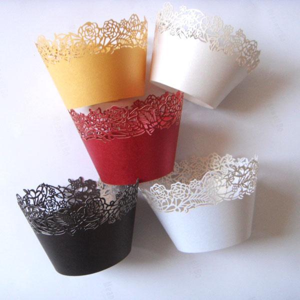 12x rojo / marfil / blanco / de oro vid color rosa flor envoltura muffin papel taza pastelero titular pastel herramienta decoración cumpleaños