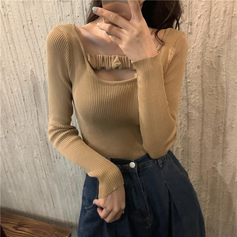 Frauenpullover Shintime Unregelmäßige kurze Pullover Frauen Langarm Herbst 2021 Herbst Strickkoreaner Rüste Pullover Frau Kleidung Pull Femm