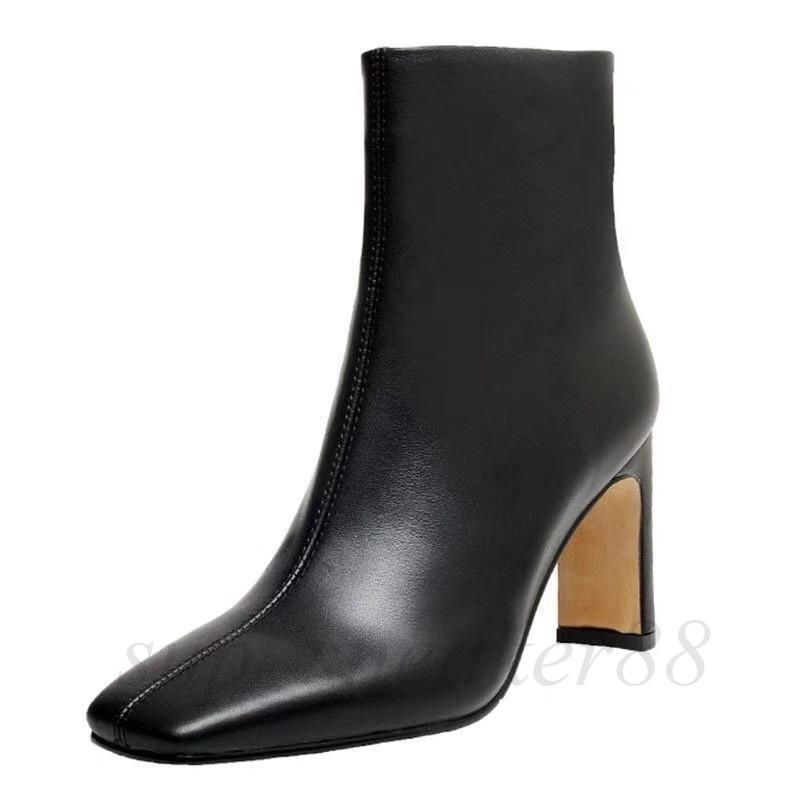 Patrón de piedra Patrón Botas de High Street Street Temperamen Square Toe Sleel Boot Spress Heel Zipper Precioso 34-39