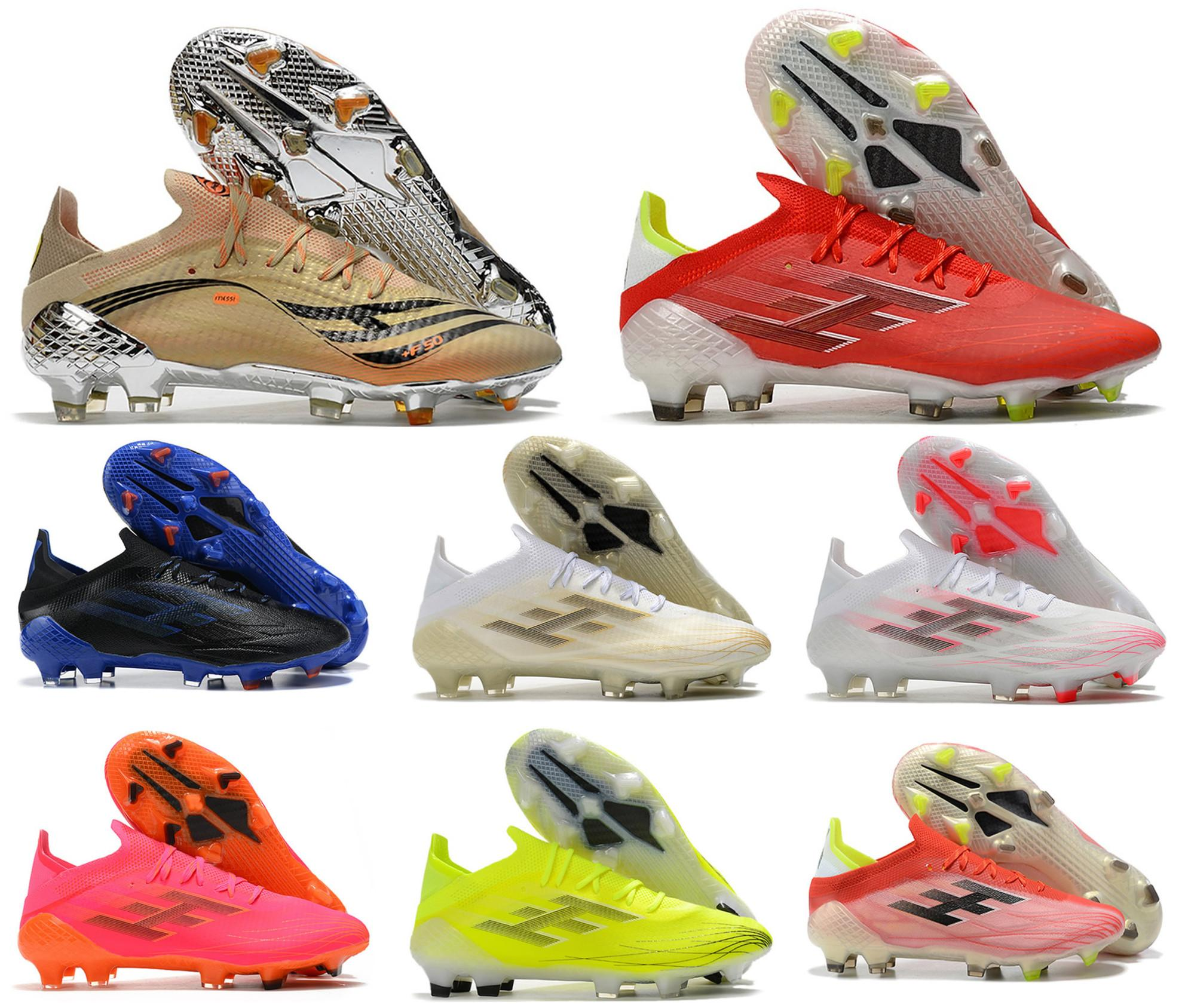2021 x Speedflow.1 FG F50 El Retorno Messi.1 Erkek Futbol Futbol Ayakkabı Kaçış Işık Redcore BlackSolar Meteorit Paketi Speedflow Boots Cleats Boyut US 6.5-11
