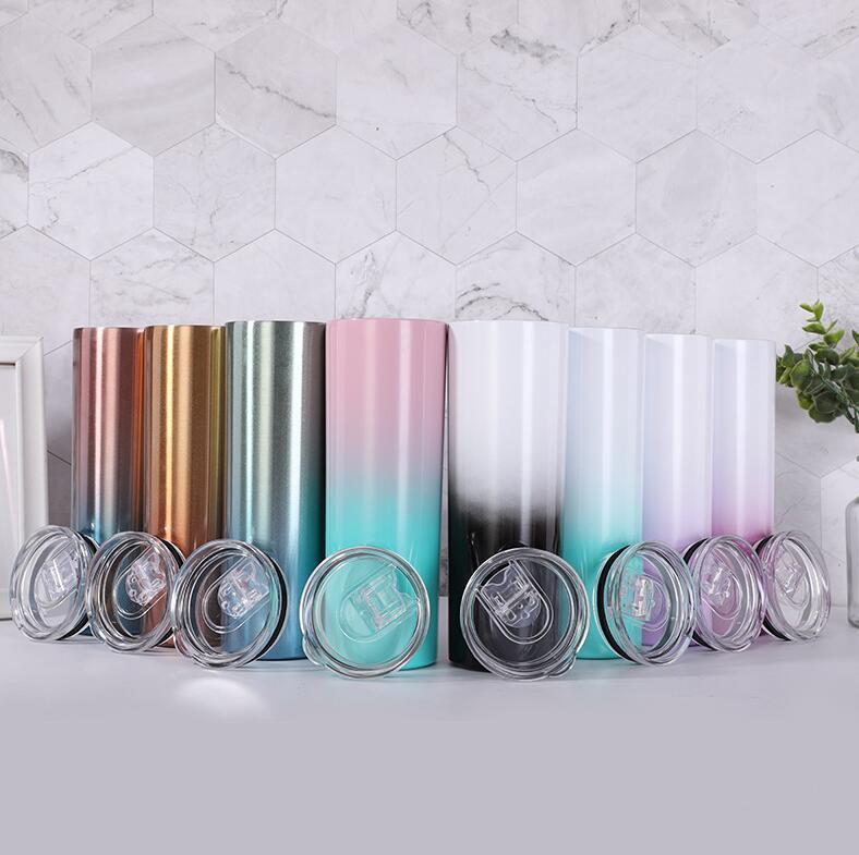 20 oz dünn tumbler 20z farbe wechseln dünne tasse edelstahl gerader tasse zylinder tassen mit stroh schieben deckel meer versand wwa130