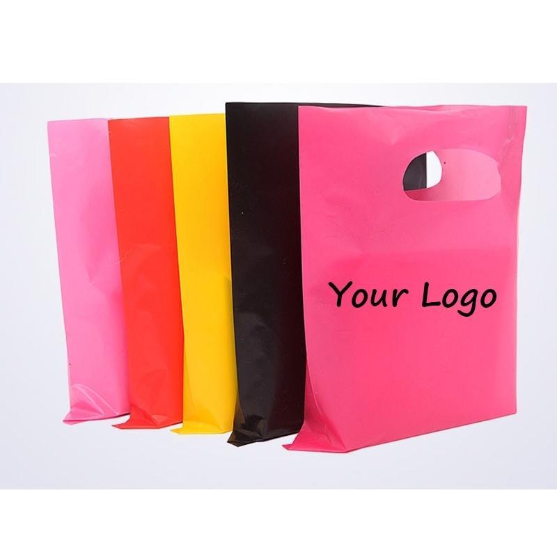 500 teile / los Großhandel benutzerdefinierte logo Kunststoffeinkaufstasche Hohe Qualität Die Schnitthandtasche für Verpackung / Geschenke / Boutique 210312