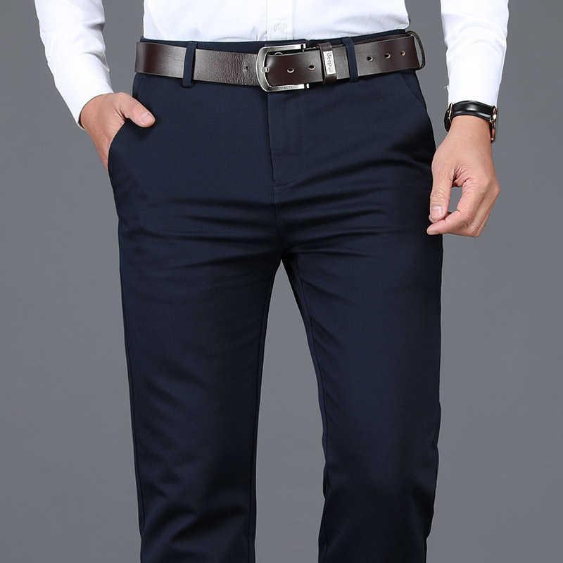 Shan Bao Taille 28-42 Coton de haute qualité Hommes Stretch Hommes Pantalons décontractés Classic Printemps De Spring Vêtements Business Gentleman Slim Pantalons 210531