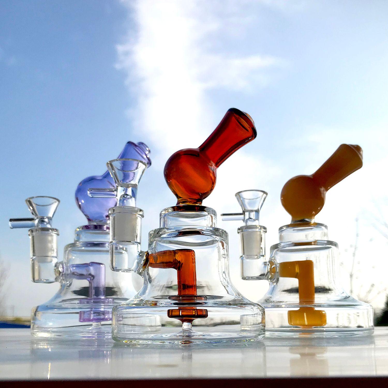 Liya narghilè mini DAB Oil Rig 6 '' Glass Bong Doccia perc Femmina 14,5 mm Tubo dell'acqua con quarzo Banger Bowl