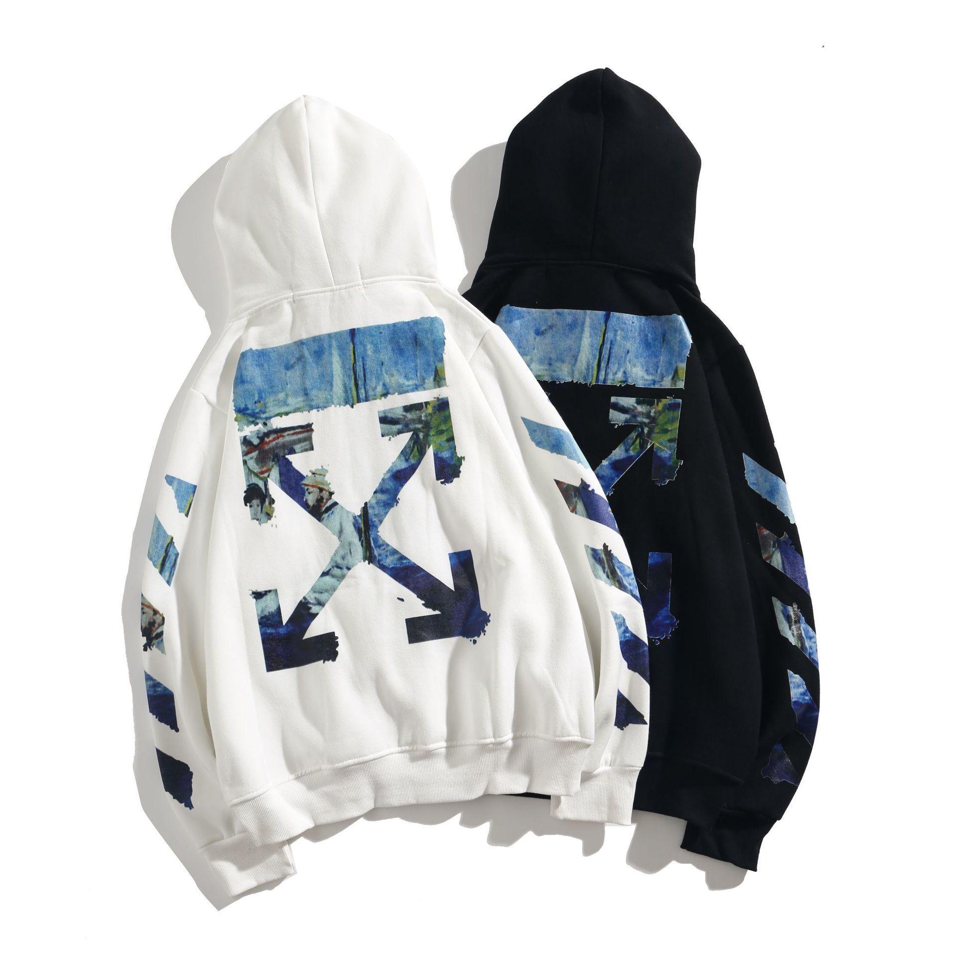 19SS ультрамодный ультрамодный стиль белый масляной живописи Arrstyle с капюшоном пуловер свитер осень зима мужская и женская свободная повседневная пальто
