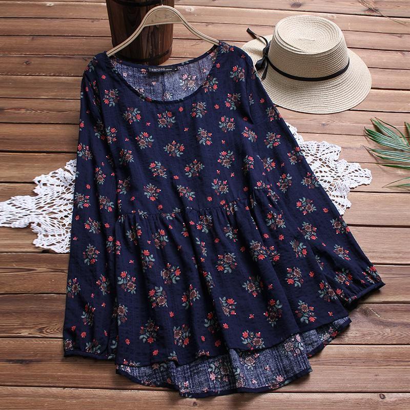 Женские блузки рубашки плюс размер 2021 осень Zanzea женская блузка напечатана рубашка с длинным рукавом нерегулярные подол, плиссированные MIDI Vestidos