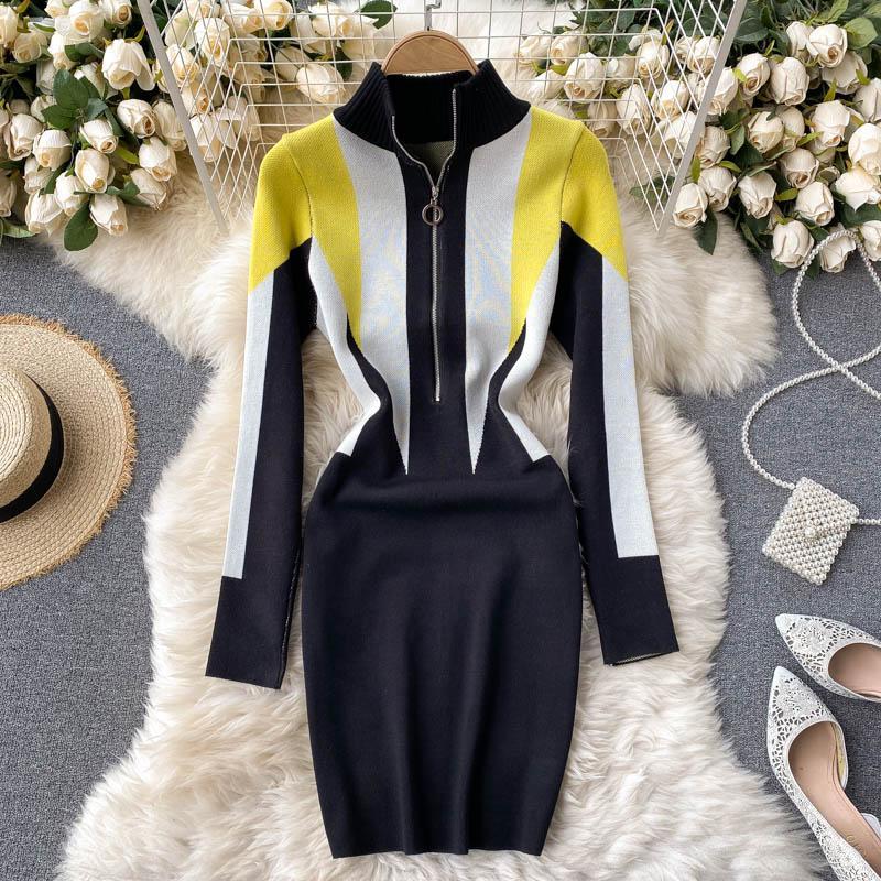 Y mujer diseño vestido de punto otoño cremallera soporte collar de manga larga vestido de lápiz de invierno suéter caliente vestidos cortos