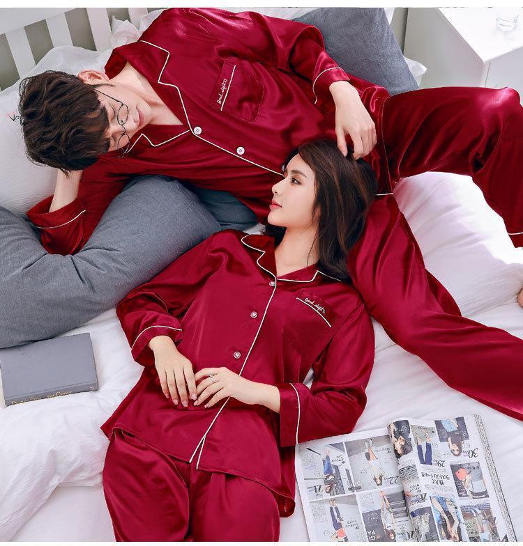 Silk Satin Couples Pajamas Set For Women Men Long Sleeve Sleepwear Pyjamas Suit Home Clothing His-and-hers Clothes Pijamas