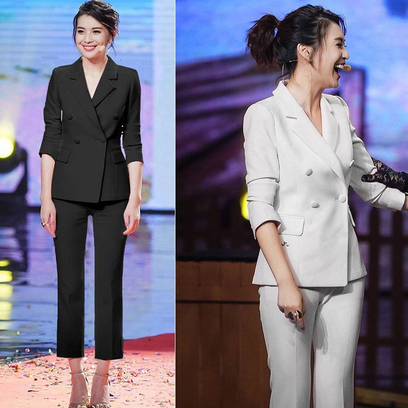 2 Kadın İş Kruvaze OL Ceket + XL Pantolon Profesyonel Suit XL-5XL JU57