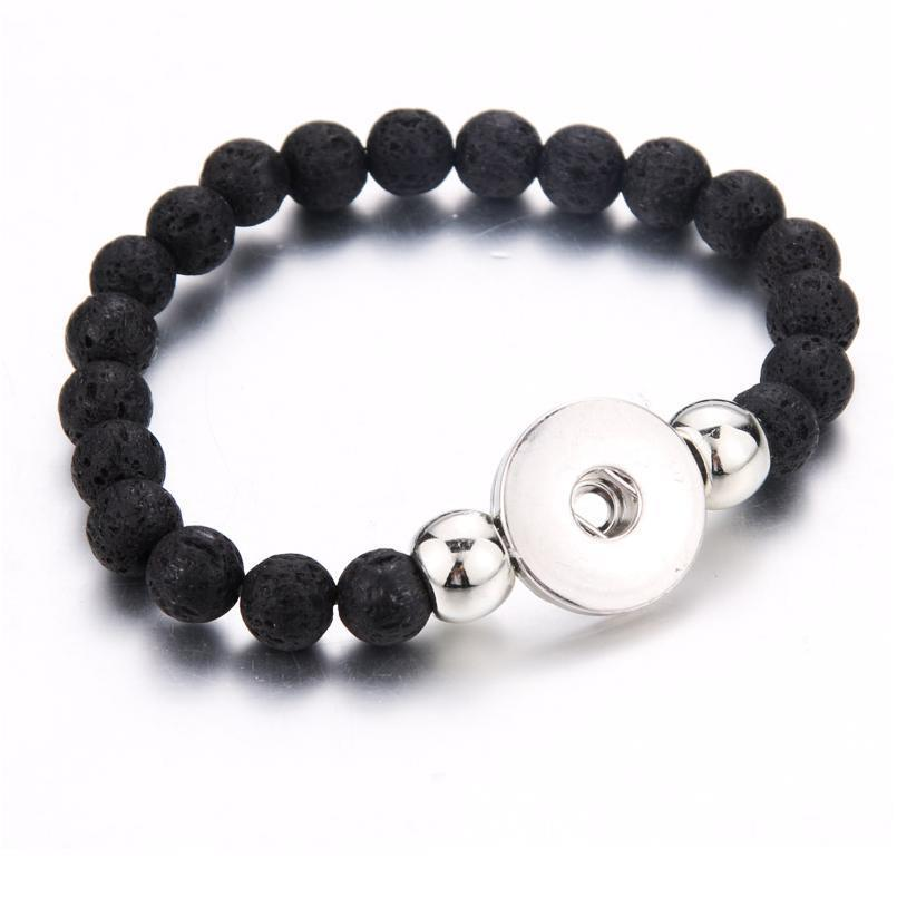 New 6 Colors Elasticity Volcanic Stone Bead Bracelet Fit 18mm Snap Jewelry Women Lava Stone Ban jllWer