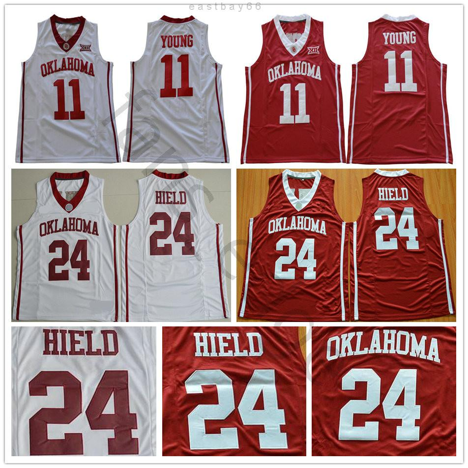 NCAA OKLAHOMA Southers Trae College # 11 Young Jersey Home White White Mens Steyed # 24 Heild University Buddy Basketball Jerseys