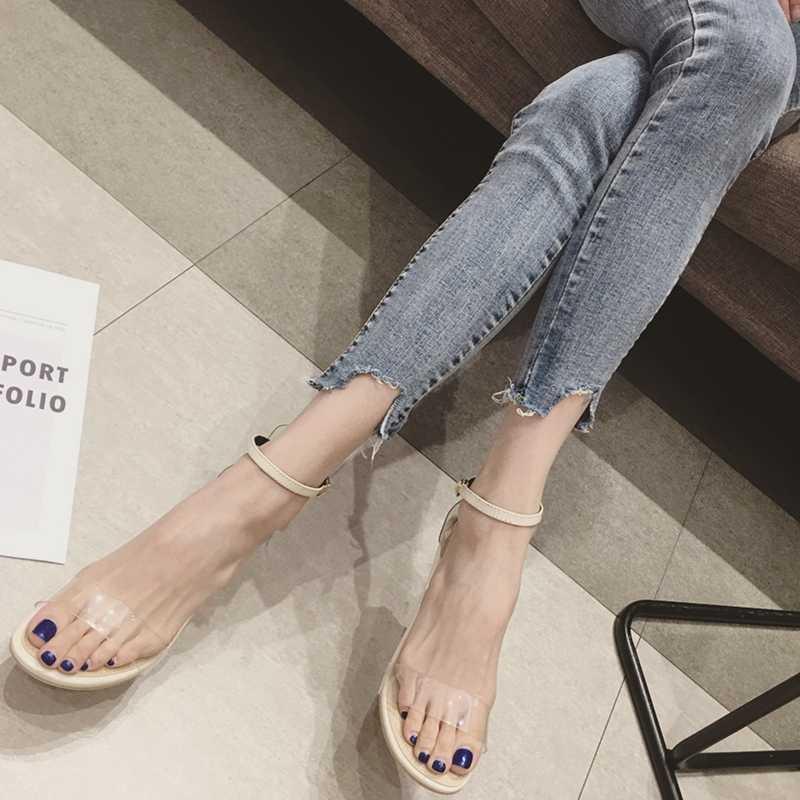 Новая желе прозрачная пряжка целлофановая лента сандалии кристалл открытый носок высокие каблуки женские прозрачные круглые каблуки высокие каблуки