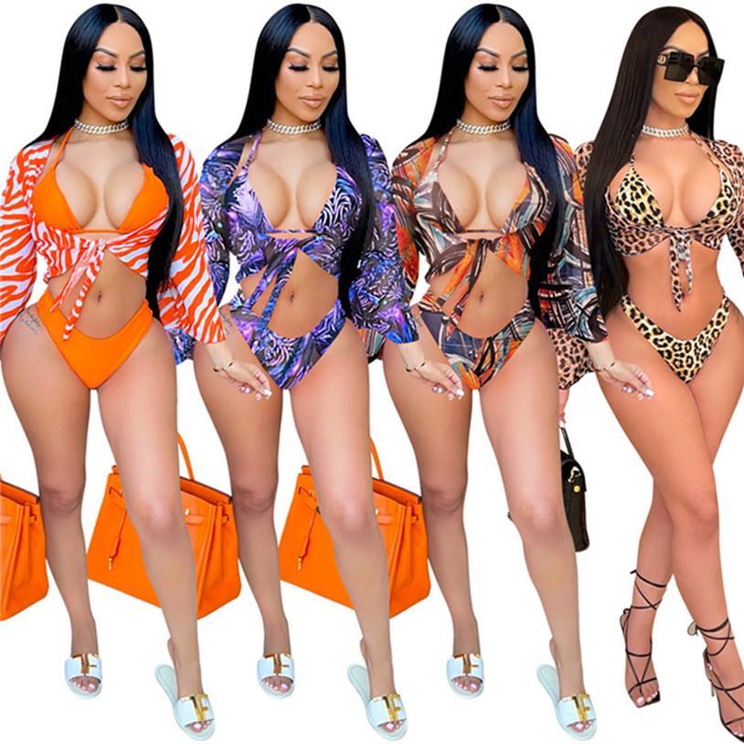 Плюс размер 2XL летние женщины пляжная одежда сексуальные бары + бикинис + пальто купальников 3 кусок наборы повязки купальники одежда леопардовые купальные костюмы мода DHL 4637