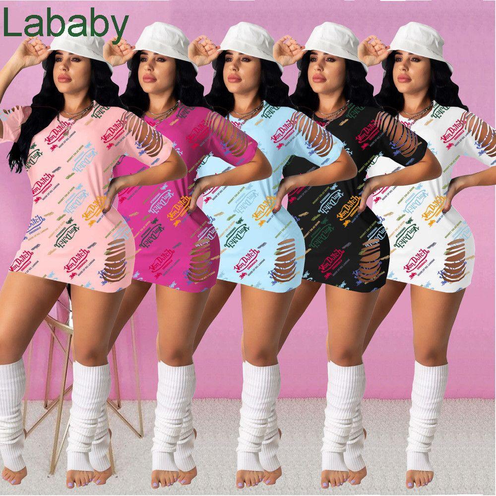 5 Colors Summer Women Sexy Casual Dress Designer Flora Print Letter Short Sleeve Party Dresses Club Wear Fashion Skirt
