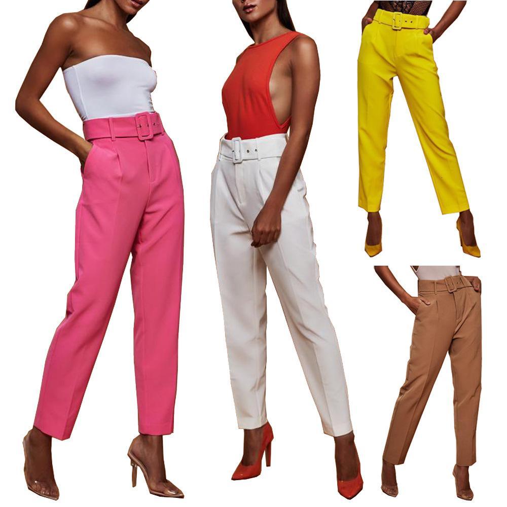 NOUVEAU Pantalon Casual Taille High Color Solide Capris Pantalon Direct avec BeltTgmu