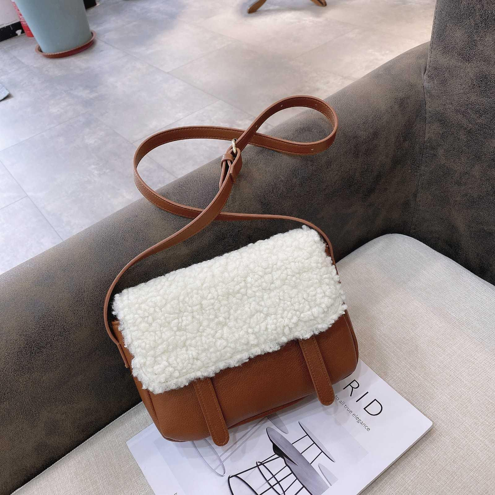autumn and winter 2021 new UG lamb hair Mini Crossbody one shoulder long with schoolbag saddle Plush bag
