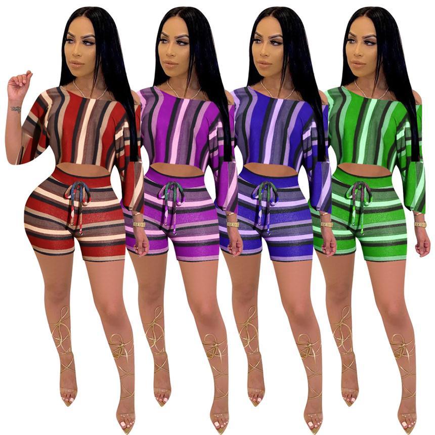 Plus Größe 5XL Frauen Trainingsanzug Shorts 2 Stück Sets Kurzarm T-shirt + Kurze Hosen Sommer Kleidung Sport Outfits Gestreifte Jogger Sets 4436