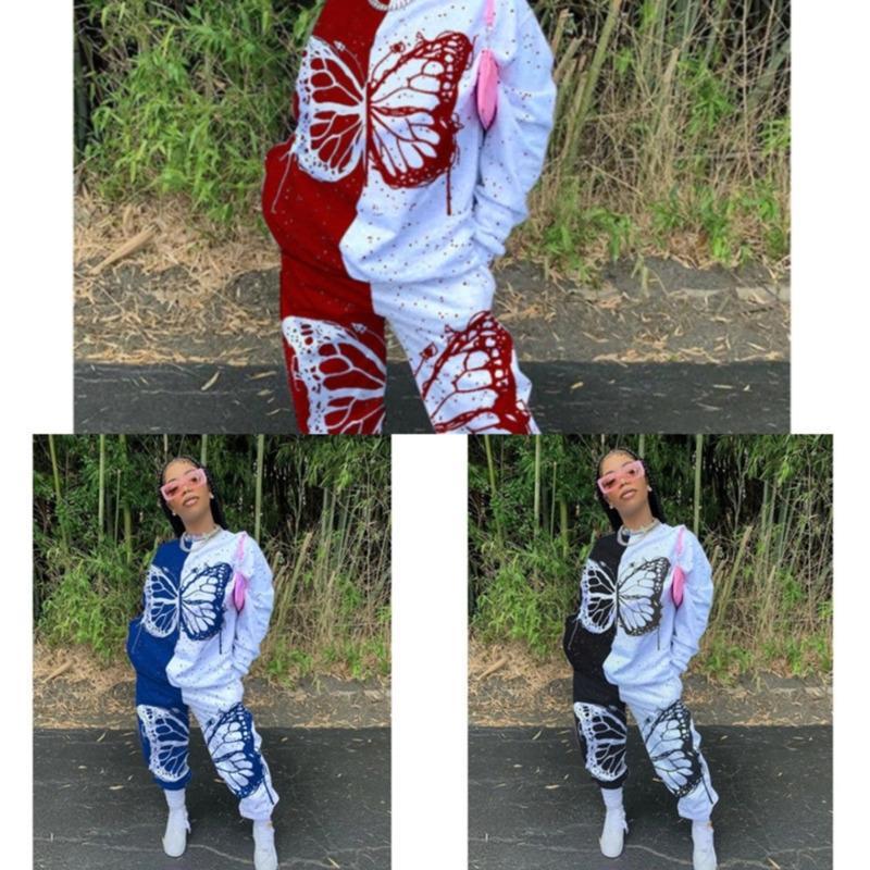 Plus Size Womens Butterfly Patchwork Trainingsanzug Gedruckt Langarm Tops T-Shirt + Hosen Zweiteilige Outfits Damen Casual Sets JY20135