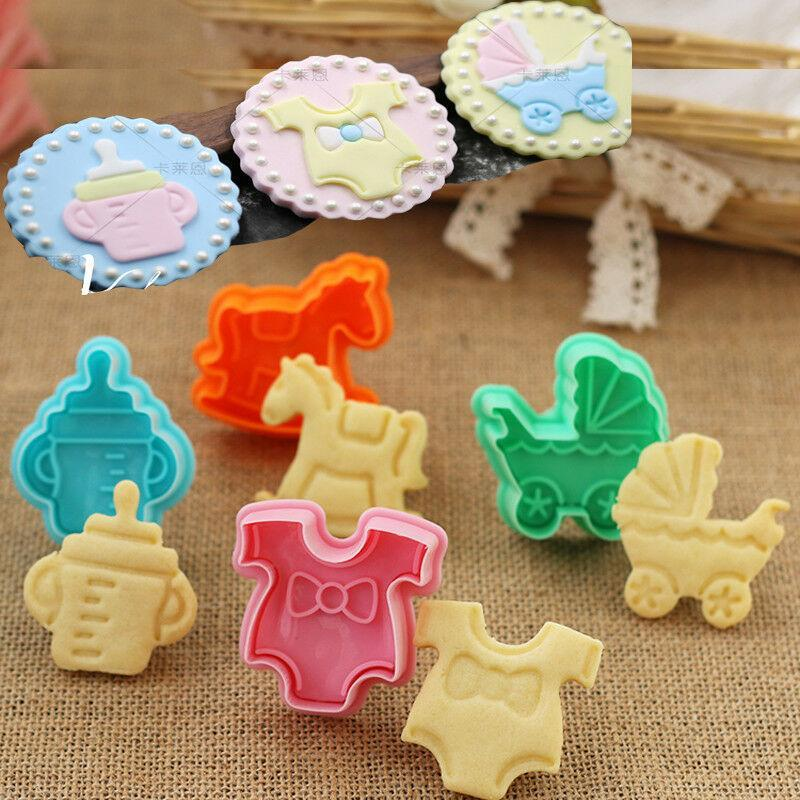 Baking Moulds 4 Pcs Baby Type Mold Kitchen Biscuit Cookie Cutter Pastry 3D Cartoon Shower Fondant Cake Bakeware Decorating Tools