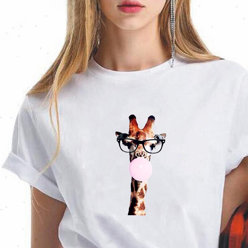 Lose Wunderschöne Frauen Tops Günstige T-Shirt Stil Trendy Vogue Giraffe Tragen Gläser Blasen Blasen Grafikdrucken