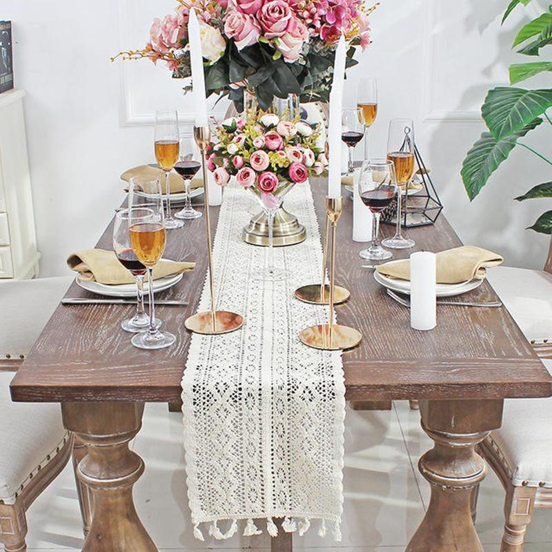 Crochet Hollow Lace Table Runner Tassels Beige Cotton Wedding Decor Tablecloth Nordic Romance Table Cover Coffee Runners DHC6164