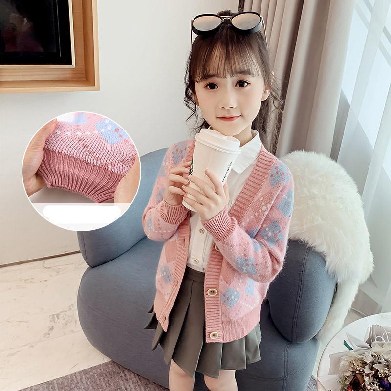 Moda Cashmere Suéter Niños Primavera Autumn Punto Cardigans Adolescente V-cuello Geométrico Outerwear Abrigos Niños Niños 12Y 210202