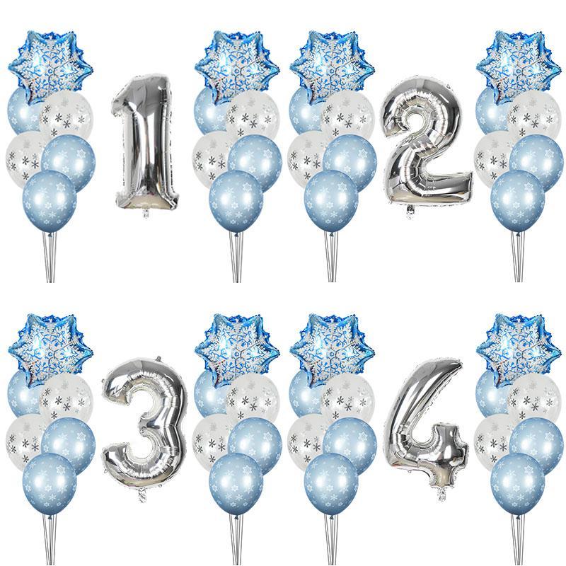 Winter Birthday Theme Party Snowflake Balloons Foil Number Ballons Ice snow Party Christams Xmas Helium Globos Decor Supplies