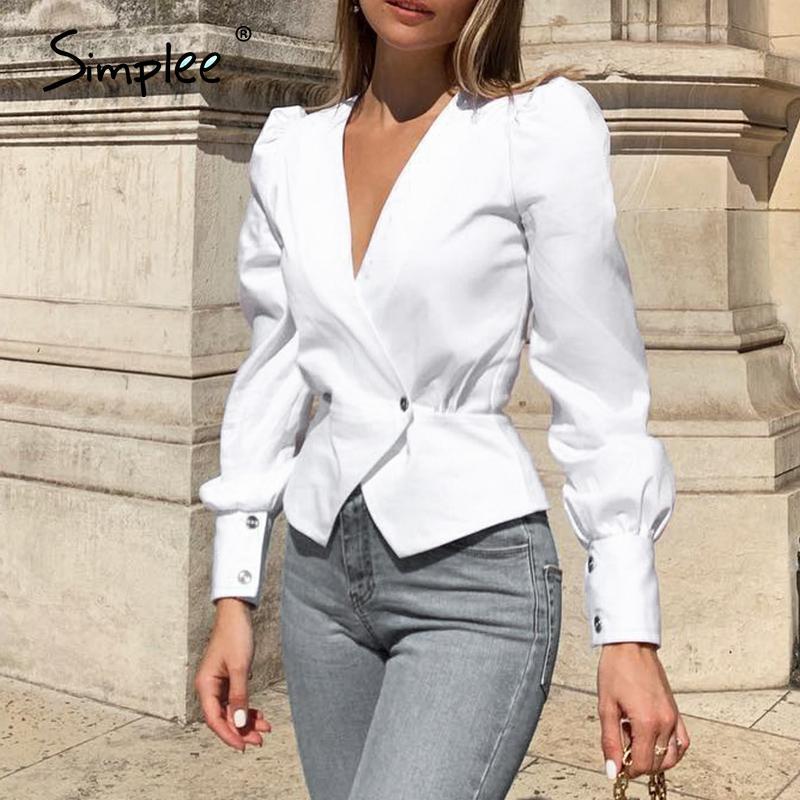 Simplee Vintage Puff Button Women Blouss Camicia Mujer Sexy Sexy V Collo Ver Green Camicetta Camicia involucro PEPLEM OL Feminino BLUAS MUJER 210226