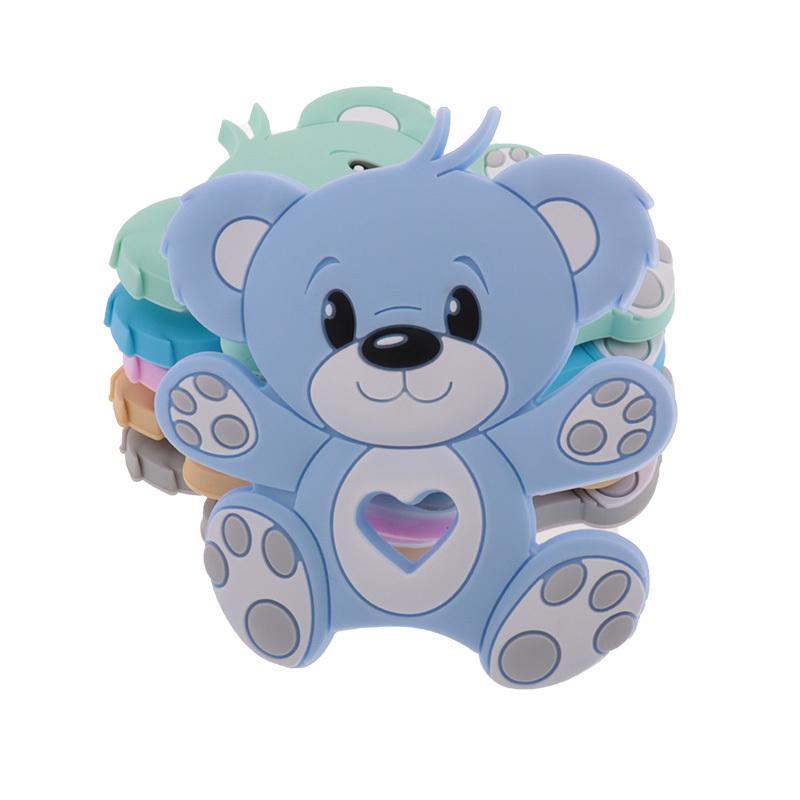 10pc Bear Silicone Bebê Teether Teether Newborn Colar Colar de Chupeta Corrente Acessórios Roedor Pingente Brinquedo BPA GRISTO GRÁTIS 210311