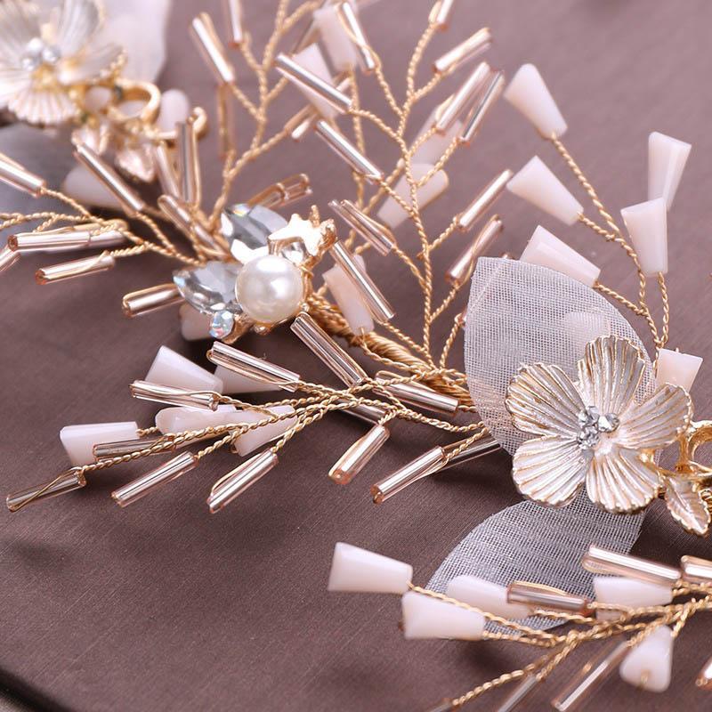 Gold Pearl Flower Tiaras Jewelry Sets Crystal Beads Pendientes Pendientes Conjunto de Adornos de Pelo de Niños de Boda JL