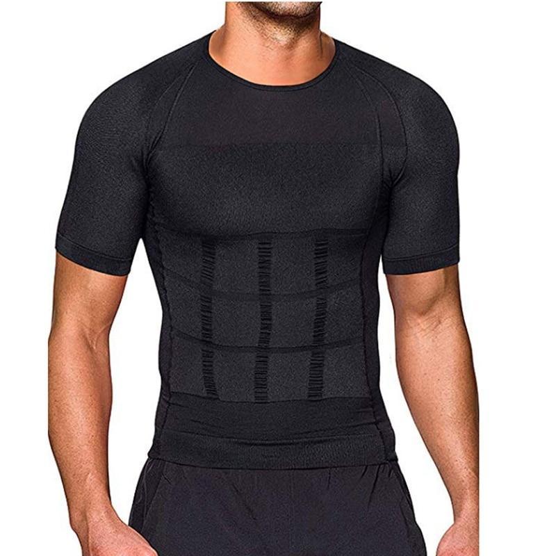 Hommes Body T-shirt T-shirt Body Shaper Posture Corrective Shirt Minceur Ceinture Belly Abdomen Burning Compression Corset