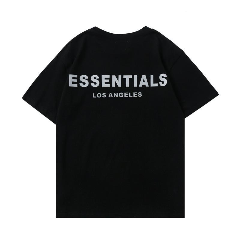 Luxo High Street Verão Hip Hop Medo de Deus Front Essentials Letras Tshirts Névoa Homens Mulheres Manga Curta Casual Camiseta