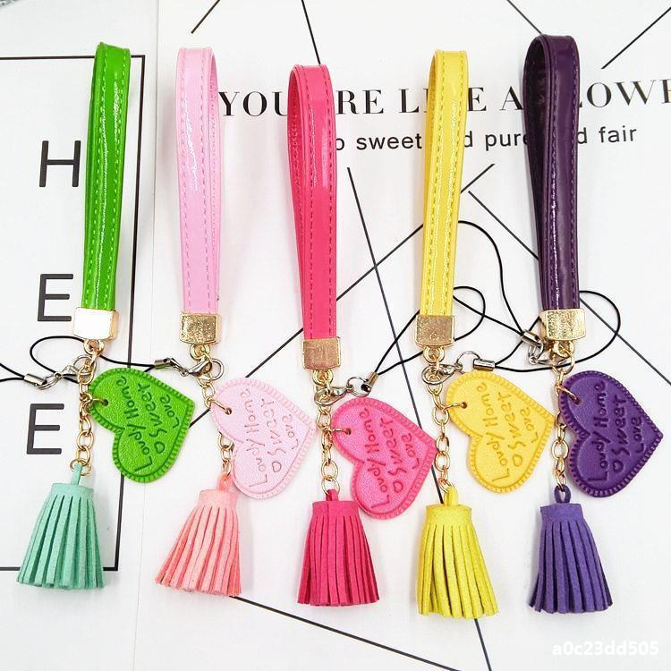 PU Leather Tassel Keychain Heart Pendant Charm Handbag Holder Coin Purse Fashion Wristlet Keyrings 6 Styles