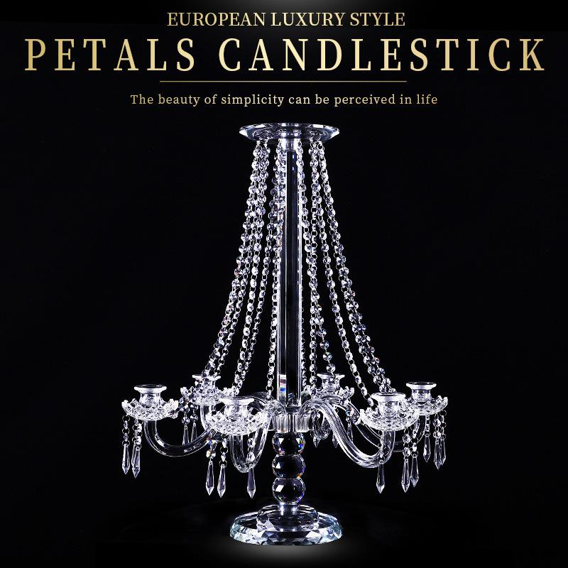 Pillar Candlestick Clear Candle Holders 5-Arms Wedding Crystal Decoration Stand Mariage Home Decor Candelabra for table XH6ZVU