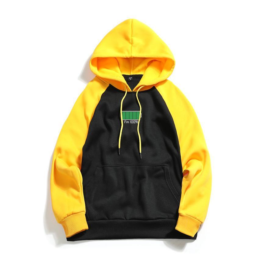 2019 neue Männer Hoodies Sweatshirts Mode Beiläufige Nähte Mit Kapuze Elektromagnetische Druck Streetwear Hip Hop Männer Hoody Sweatshirt